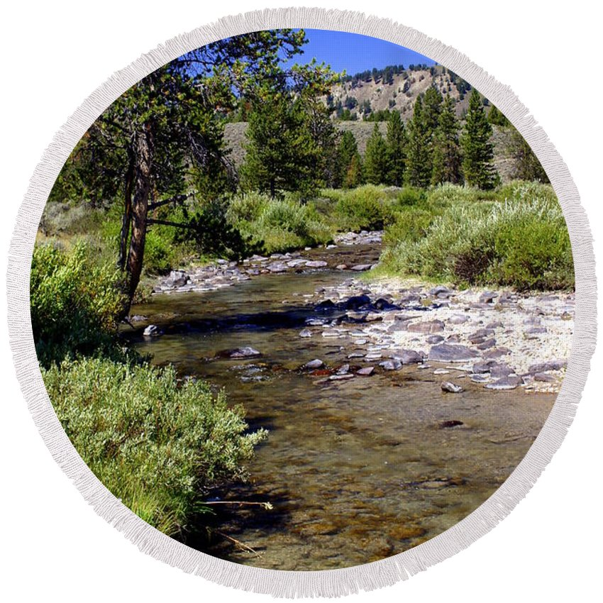 Montana Round Beach Towel featuring the photograph Buffalo Fork by Marty Koch