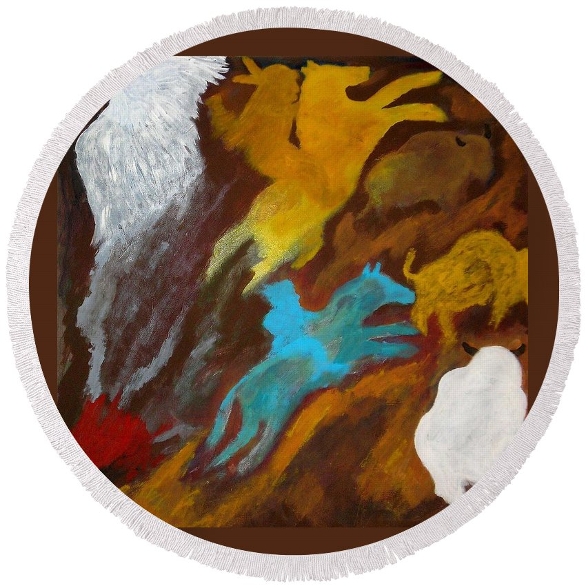Buffalo Round Beach Towel featuring the painting Buffalo Hunt -021 by Will Logan