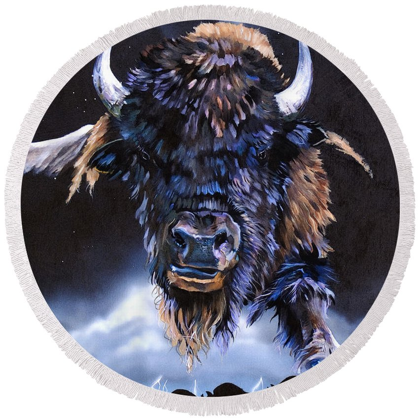 Buffalo Round Beach Towel featuring the painting Buffalo Medicine by J W Baker