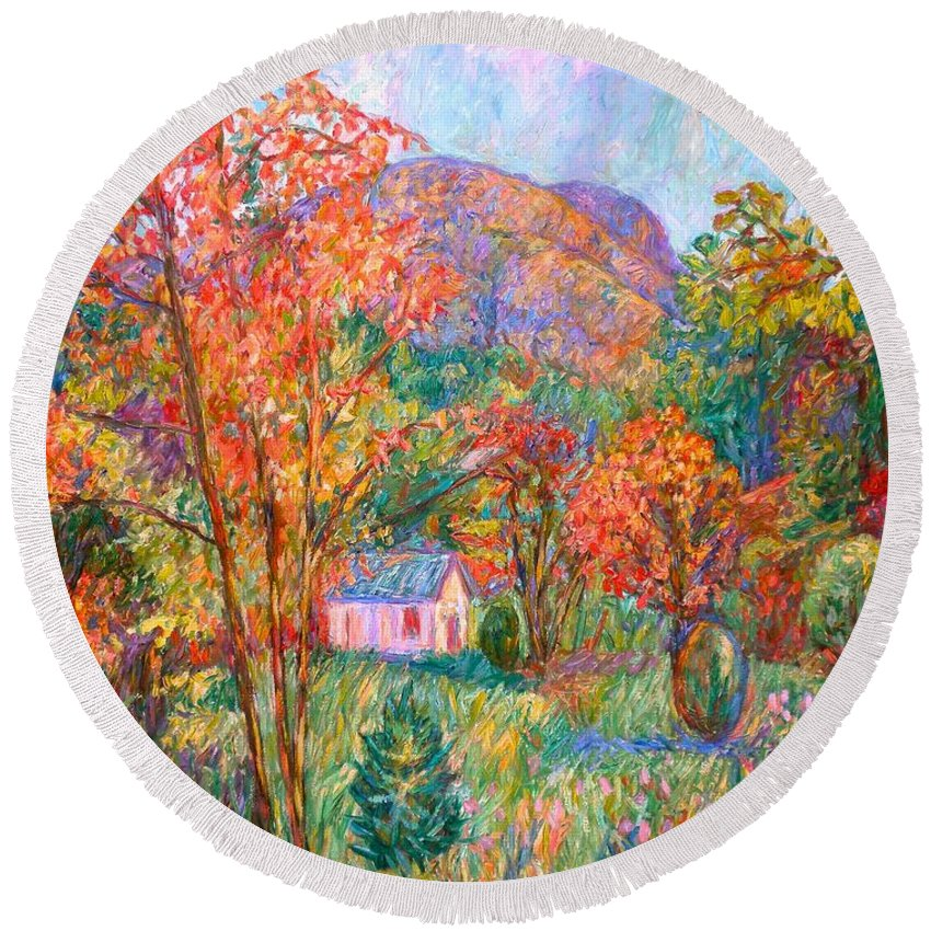 Landscape Round Beach Towel featuring the painting Buffalo Mountain In Fall by Kendall Kessler