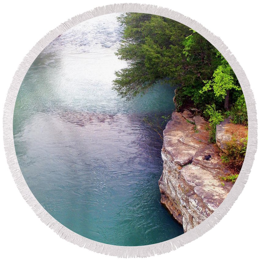 Ozarks Round Beach Towel featuring the photograph Buffalo River Mist by Marty Koch