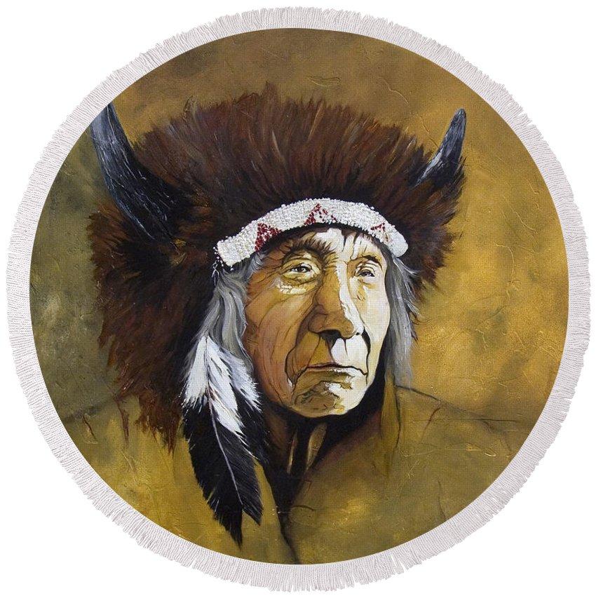 Shaman Round Beach Towel featuring the painting Buffalo Shaman by J W Baker