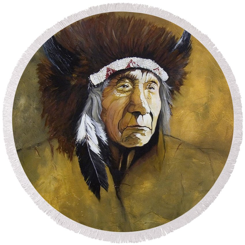 Shaman Round Beach Towel featuring the painting Buffalo Shaman by J W Baker