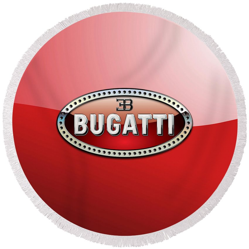 �wheels Of Fortune� Collection By Serge Averbukh Round Beach Towel featuring the photograph Bugatti - 3 D Badge on Red by Serge Averbukh