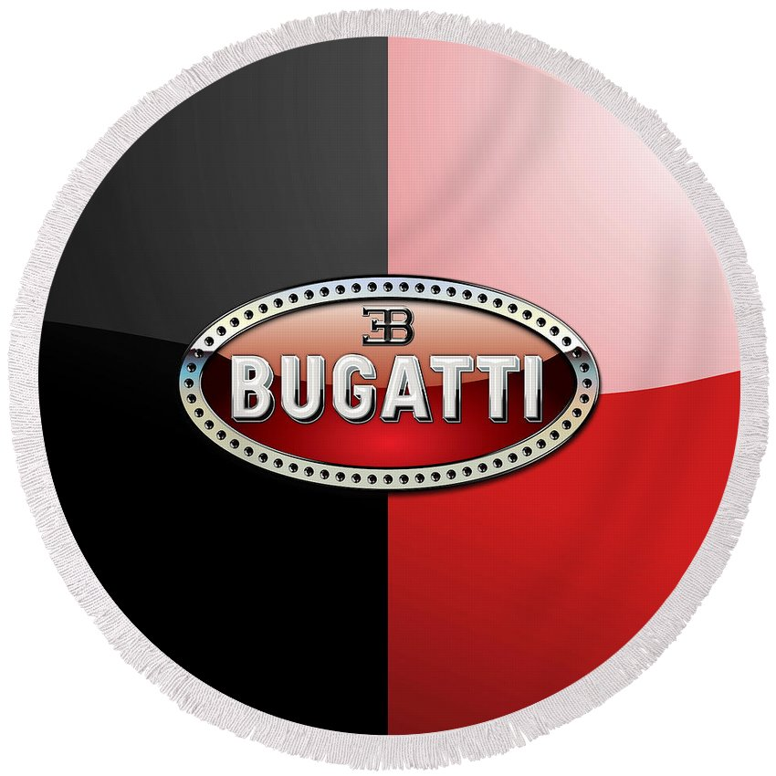 Wheels Of Fortune By Serge Averbukh Round Beach Towel featuring the photograph Bugatti 3 D Badge on Red and Black by Serge Averbukh