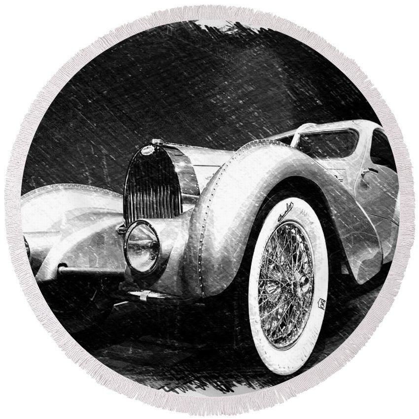 Bugatti Round Beach Towel featuring the photograph Bugatti Type 57 Aerolithe by Dick Goodman