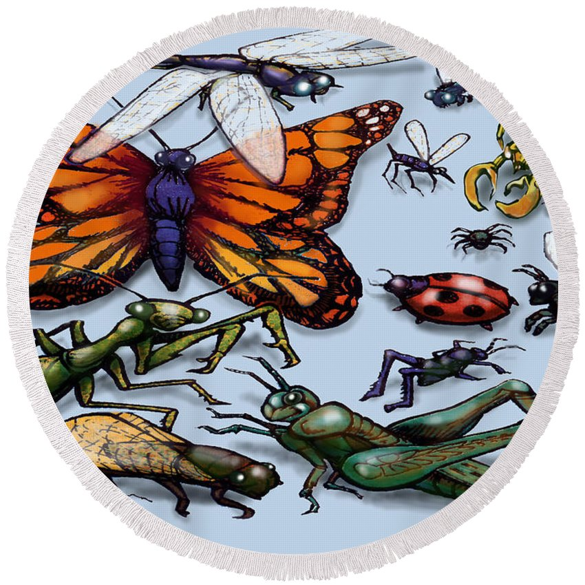 Bug Round Beach Towel featuring the painting Bugs by Kevin Middleton