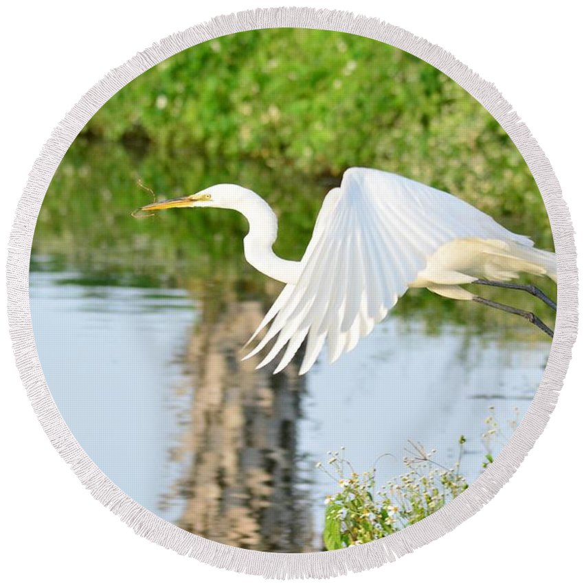 White Egret Round Beach Towel featuring the photograph Building A Nest For An Egg by Patricia Twardzik