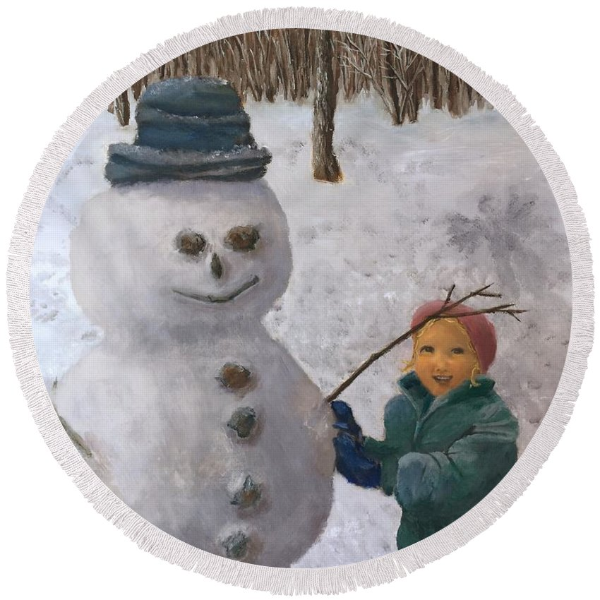 Child Round Beach Towel featuring the painting Building A Snowman by J O Huppler