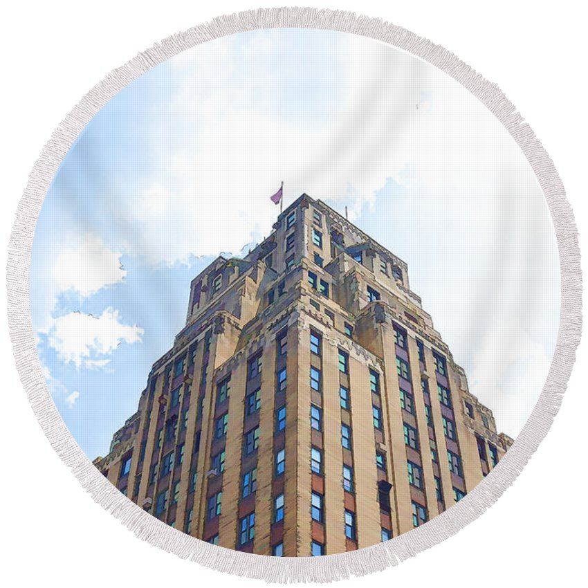Abstract Round Beach Towel featuring the painting Building Closeup In Manhattan 2 by Jeelan Clark