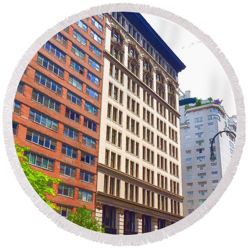 Abstract Round Beach Towel featuring the painting Building Closeup In Manhattan 5 by Jeelan Clark