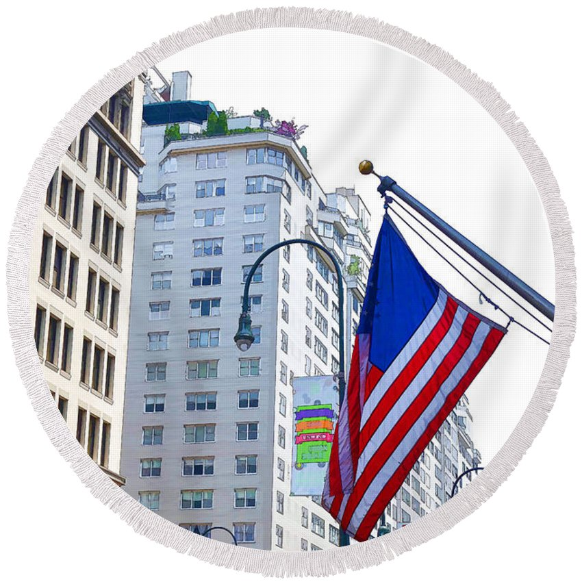 Abstract Round Beach Towel featuring the painting Building Closeup In Manhattan 9 by Jeelan Clark