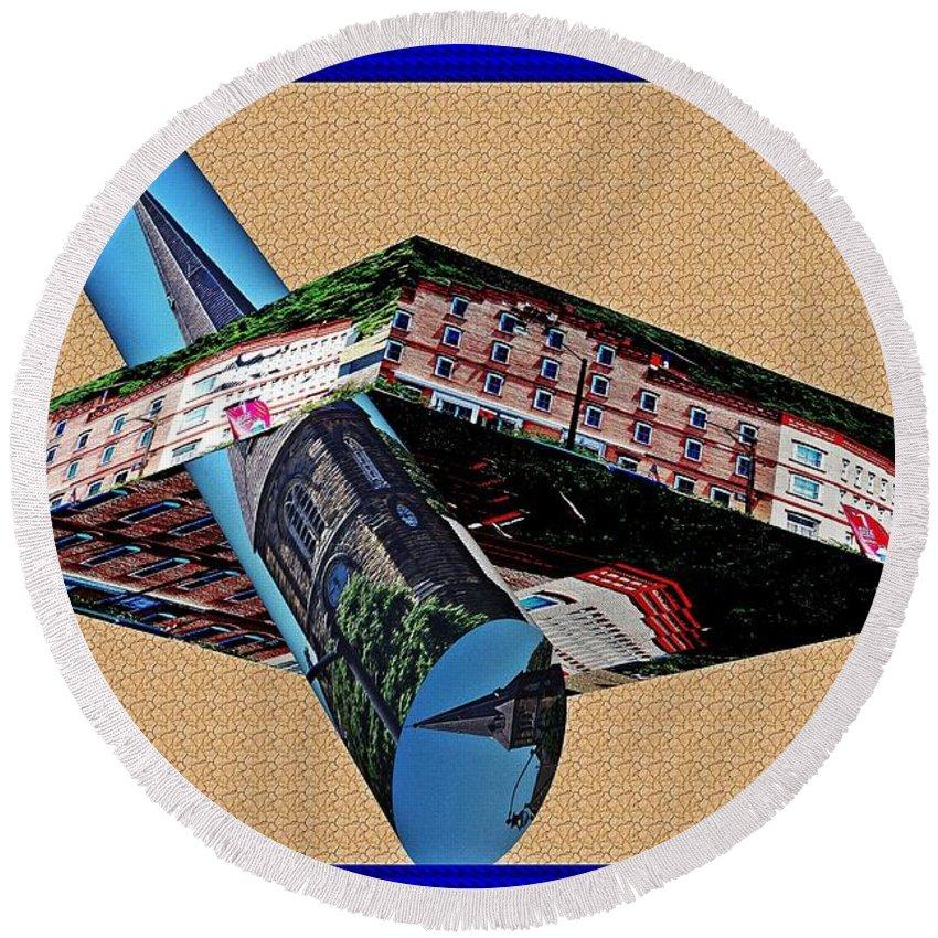 Buildings Round Beach Towel featuring the digital art Buildings As Art by Karl Rose