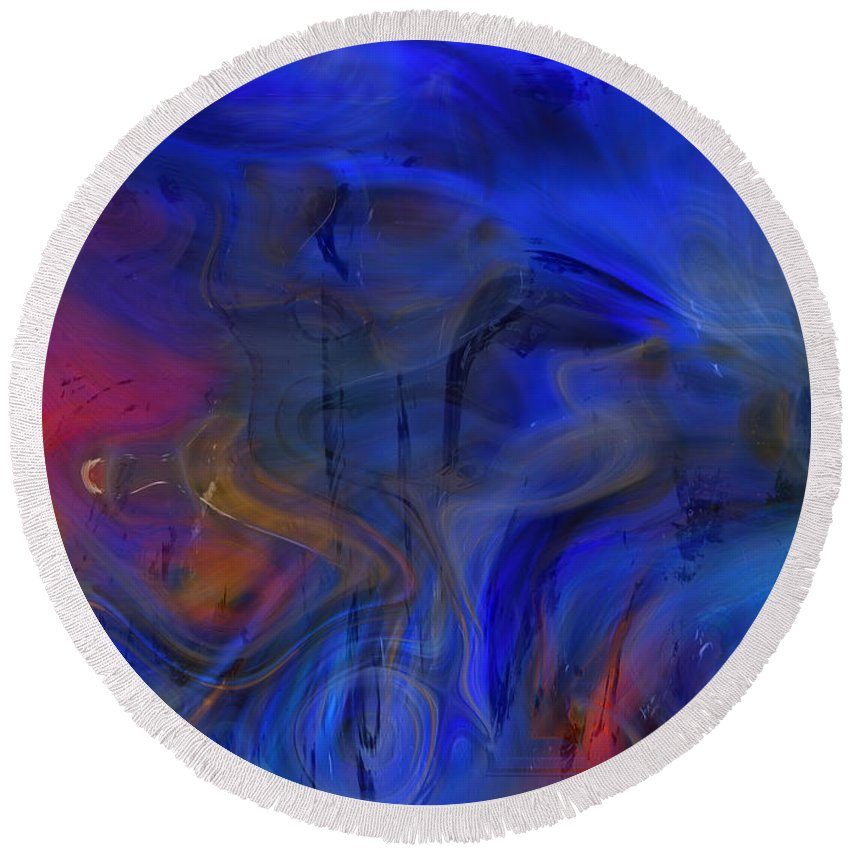 Abstract Round Beach Towel featuring the digital art Bull And Cat Azureter Dance by Richard Thomas