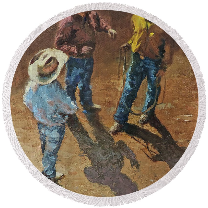Cowboy Round Beach Towel featuring the painting Bull Session by Mia DeLode