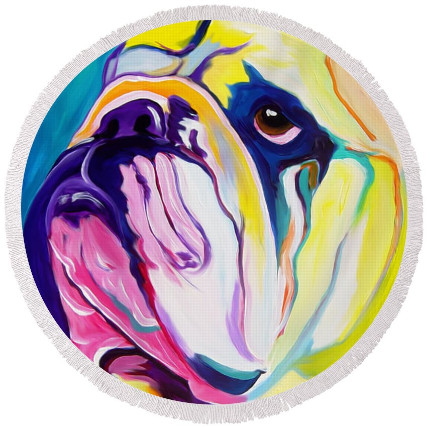 English Round Beach Towel featuring the painting Bulldog - Bully by Alicia VanNoy Call