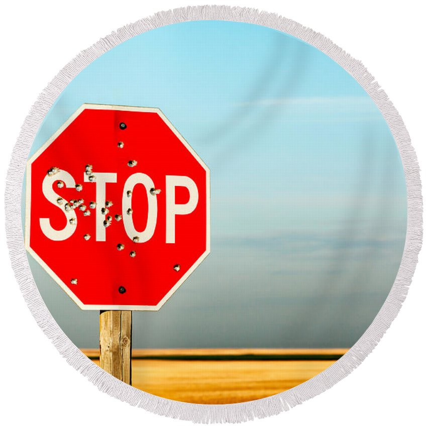 Traffic Sign Round Beach Towels