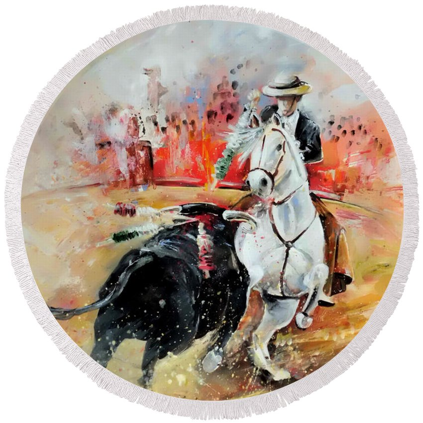 Toros Round Beach Towel featuring the painting Bullfight 3 by Miki De Goodaboom