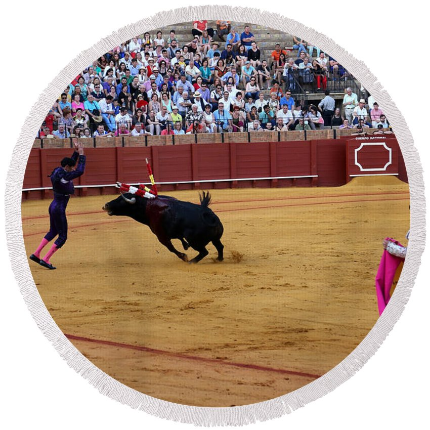 Bullfighting Round Beach Towel featuring the photograph Bullfighting 35 by Andrew Fare