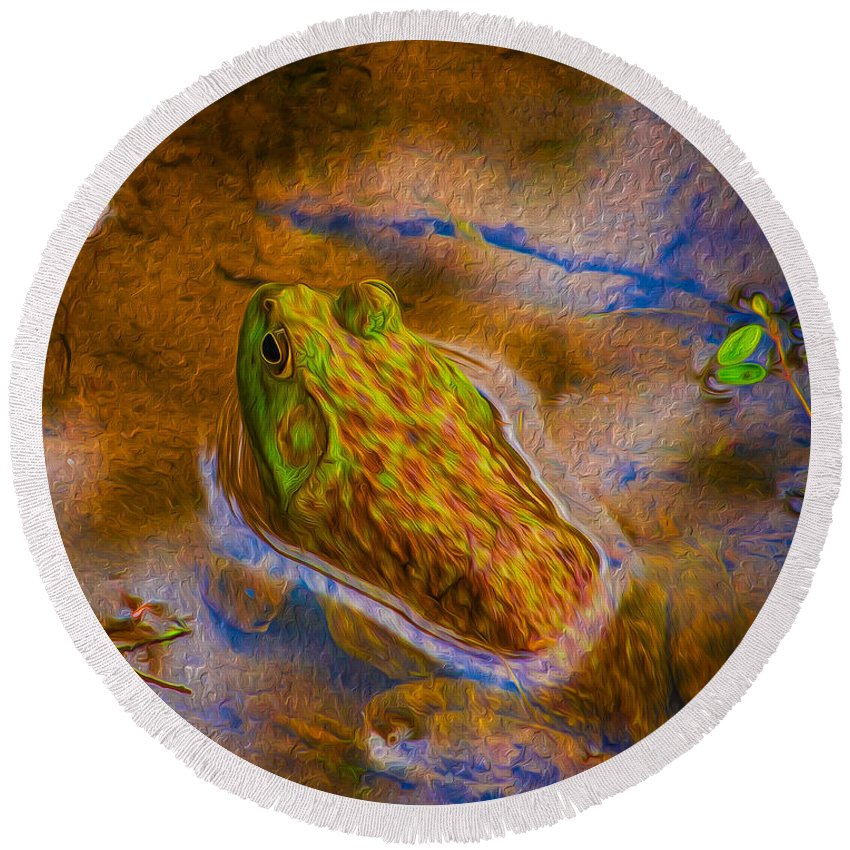 Pond Round Beach Towel featuring the photograph Bullfrog In Water by Chester Wiker