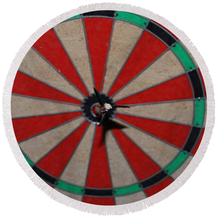 Macro Round Beach Towel featuring the photograph Bulls Eye by Rob Hans