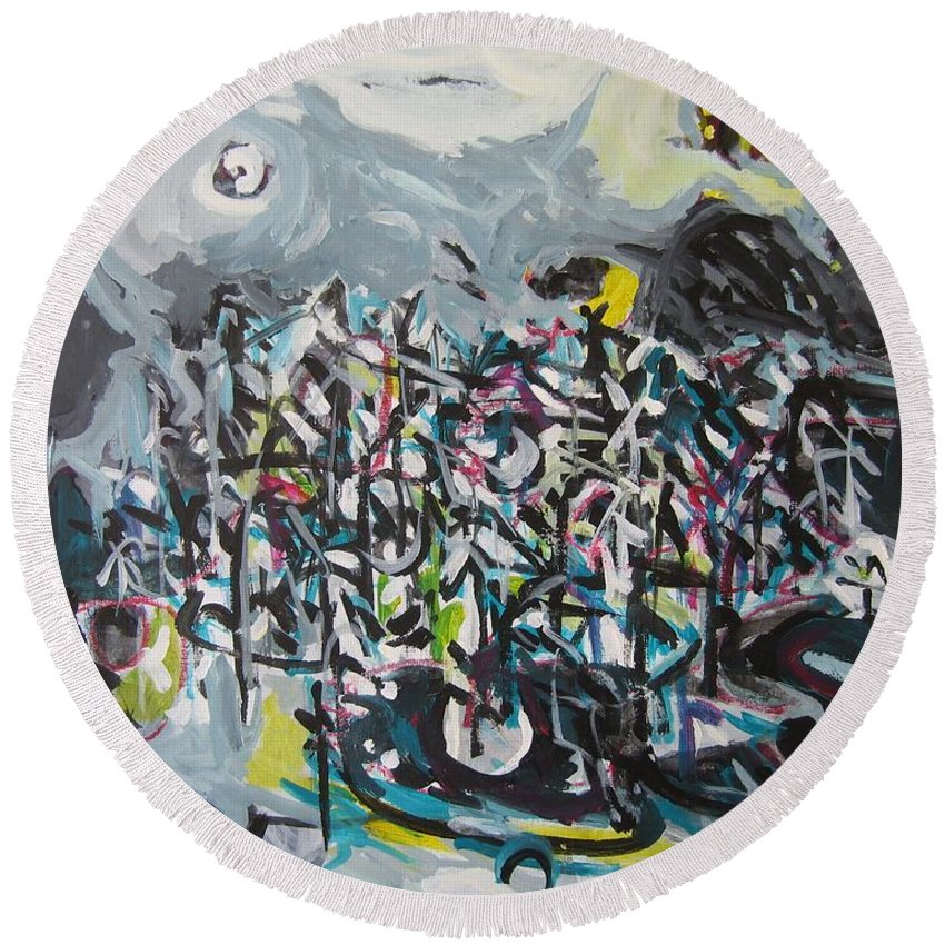 Abstract Paintings Round Beach Towel featuring the painting Bummer Flat11 by Seon-Jeong Kim