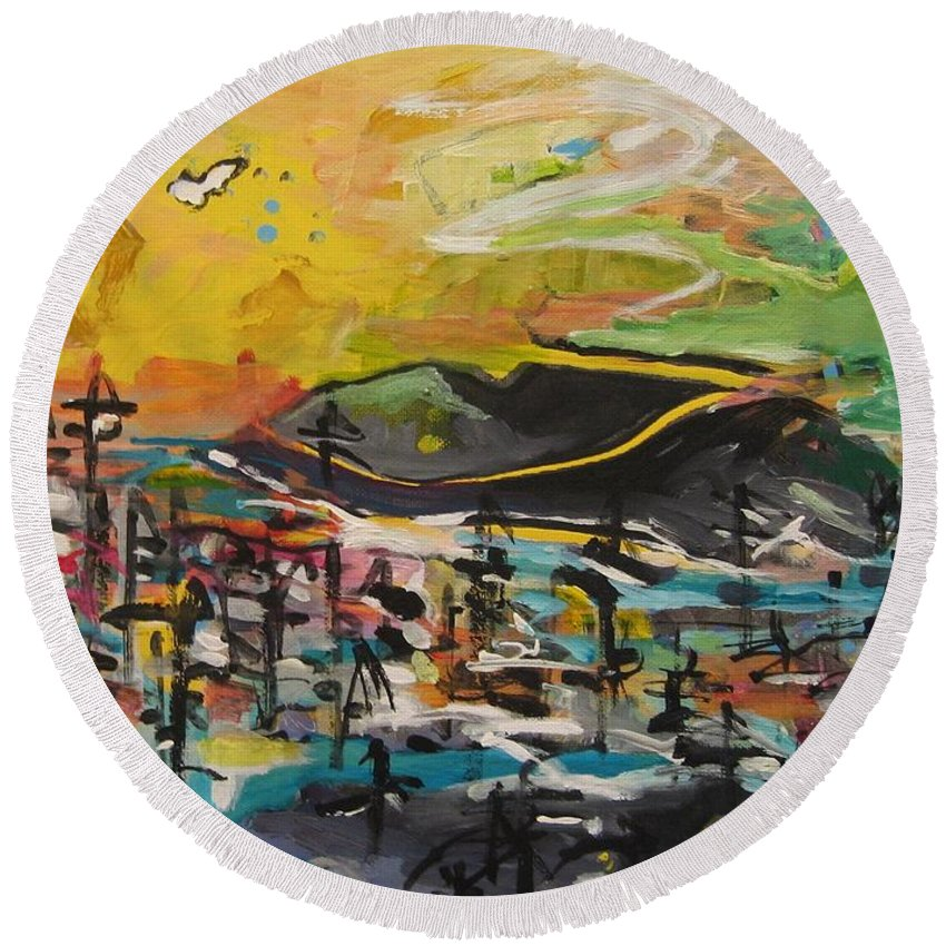 Abstract Paintings Round Beach Towel featuring the painting Bummer Flat2 by Seon-Jeong Kim