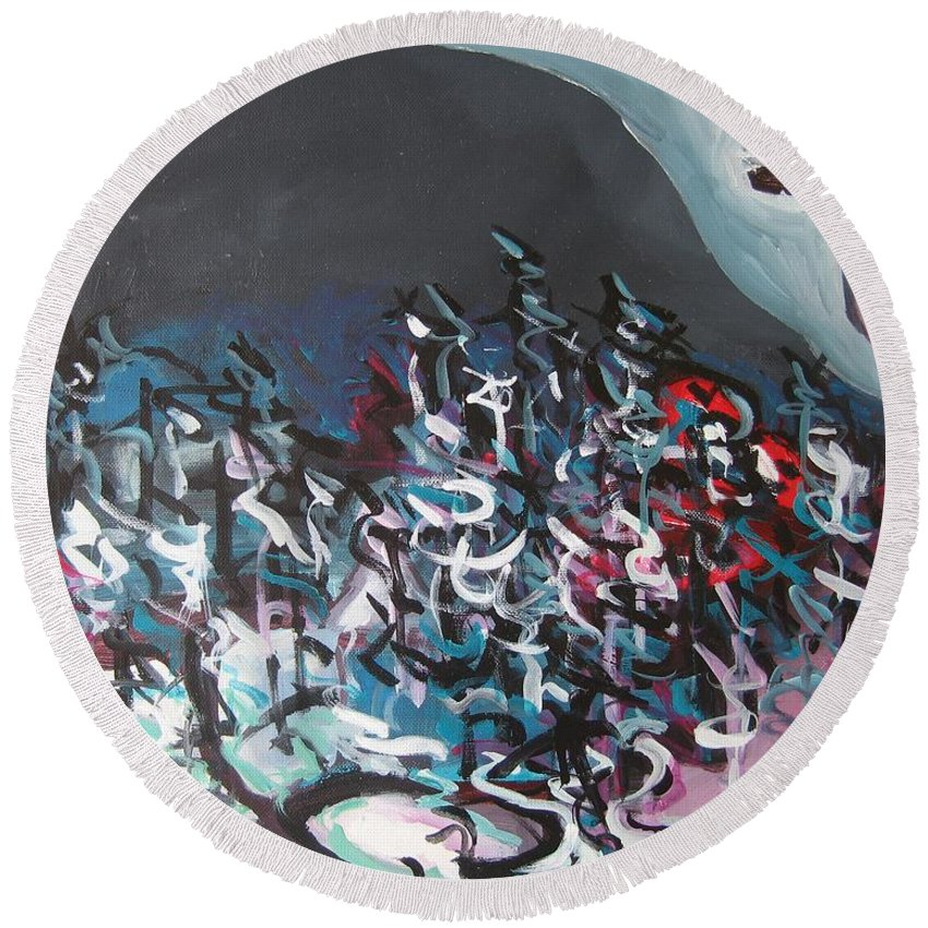 Abstract Paintings Round Beach Towel featuring the painting Bummer Flat7 by Seon-Jeong Kim