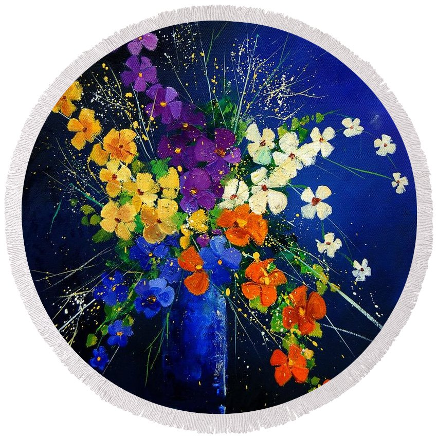 Poppies Round Beach Towel featuring the print Bunch 0408 by Pol Ledent
