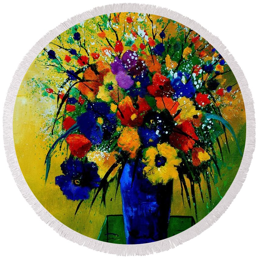 Poppies Round Beach Towel featuring the painting Bunch 0508 by Pol Ledent
