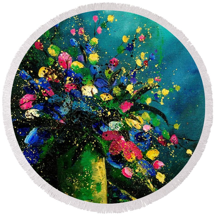 Flowers Round Beach Towel featuring the painting Bunch 0807 by Pol Ledent