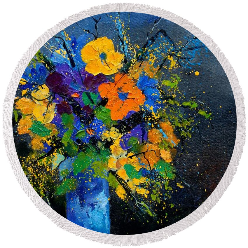 Poppies Round Beach Towel featuring the painting Bunch 1007 by Pol Ledent