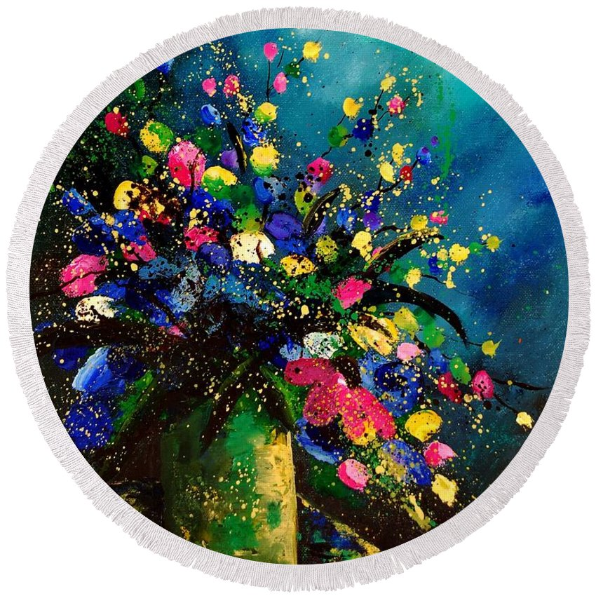 Poppies Round Beach Towel featuring the painting Bunch 45 by Pol Ledent