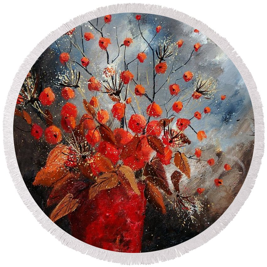 Flowers Round Beach Towel featuring the painting Bunch 560608 by Pol Ledent