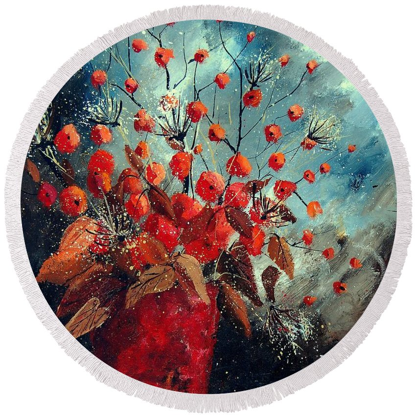 Flowers Round Beach Towel featuring the painting Bunch 562139854 by Pol Ledent