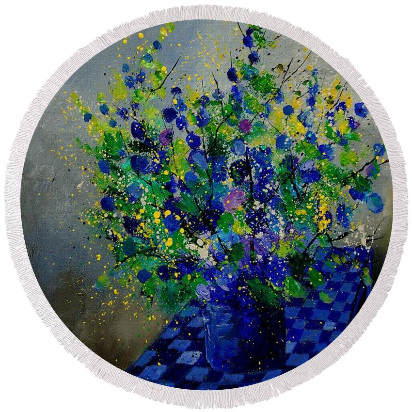 Flowers Round Beach Towel featuring the painting Bunch 9020 by Pol Ledent