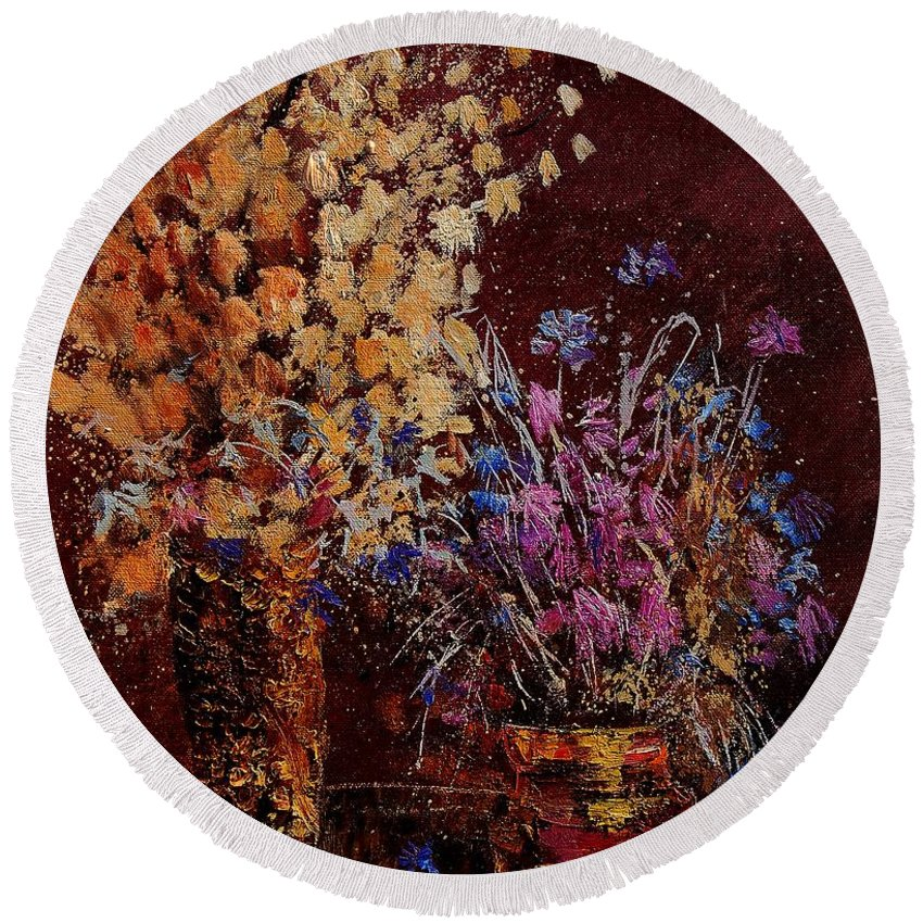 Flowers Round Beach Towel featuring the painting Bunch Of Dried Flowers by Pol Ledent
