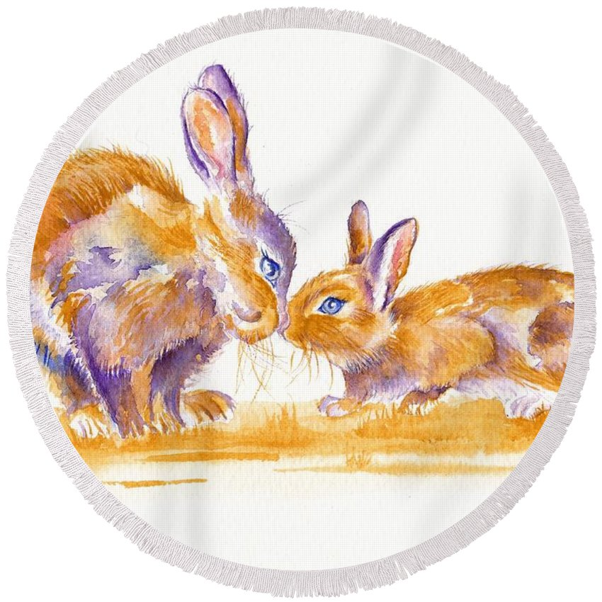 Bunnies Round Beach Towel featuring the painting Bunnies by Debra Hall