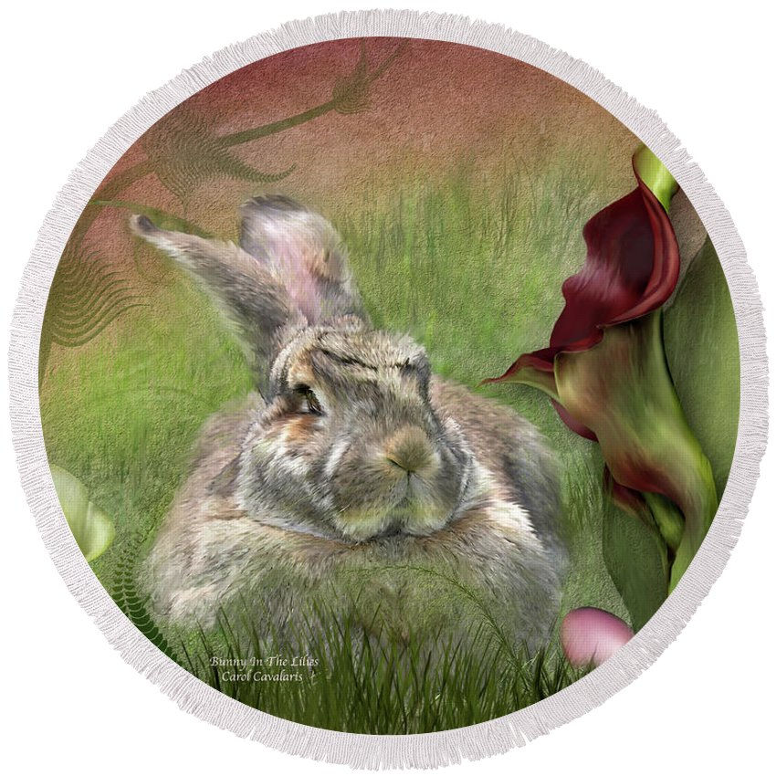 Bunny Round Beach Towel featuring the mixed media Bunny In The Lilies by Carol Cavalaris