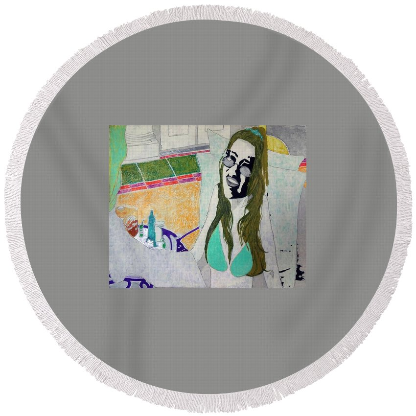 Pop Art Round Beach Towel featuring the painting Bunny Lebowski by George Hertz