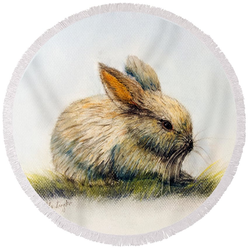 Rabbit Round Beach Towel featuring the painting Bunny by Loretta Luglio