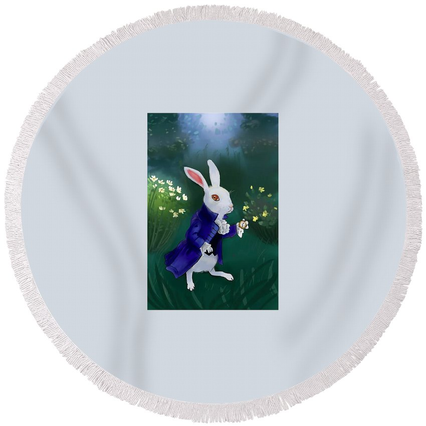 Round Beach Towel featuring the digital art Bunny by Lucy Lee