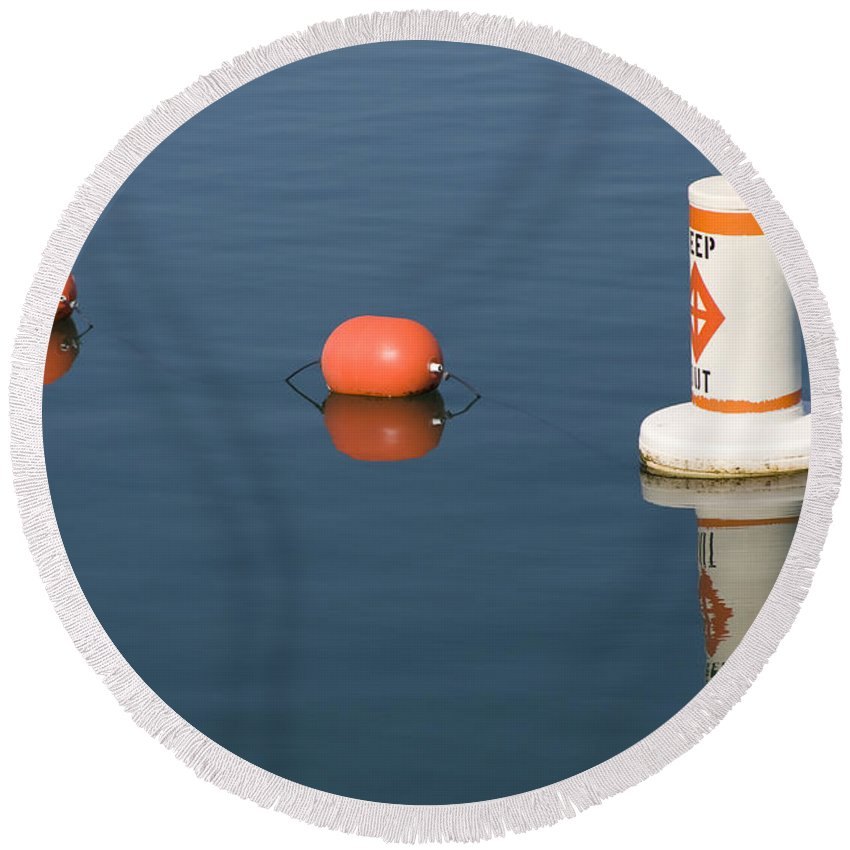 Chicago Windy City Buoy Water Lake Michigan Blue Reflection Mirror Orange Round Beach Towel featuring the photograph Buoy by Andrei Shliakhau