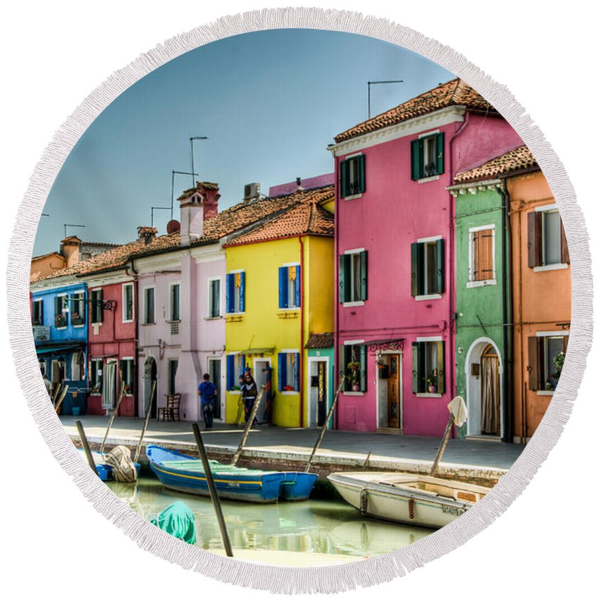 Burano Round Beach Towel featuring the photograph Burano Canal by Jon Berghoff