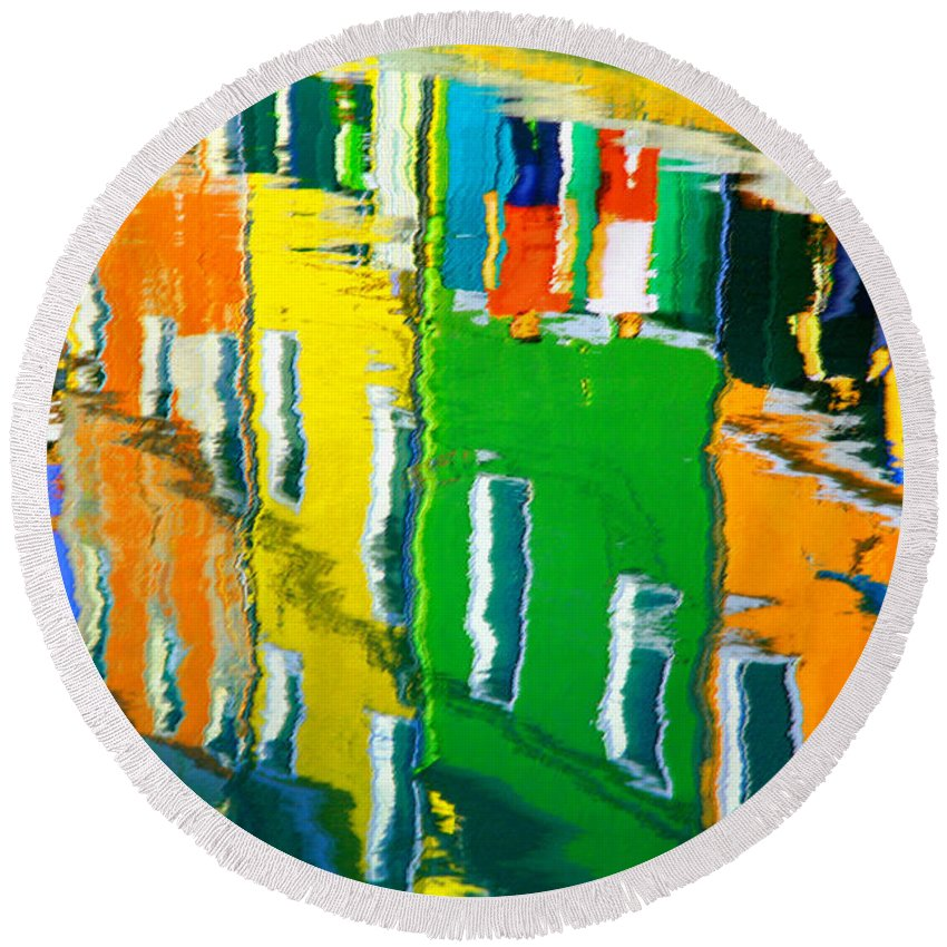 Burano Round Beach Towel featuring the pastel Burano Reflections by Donna Corless