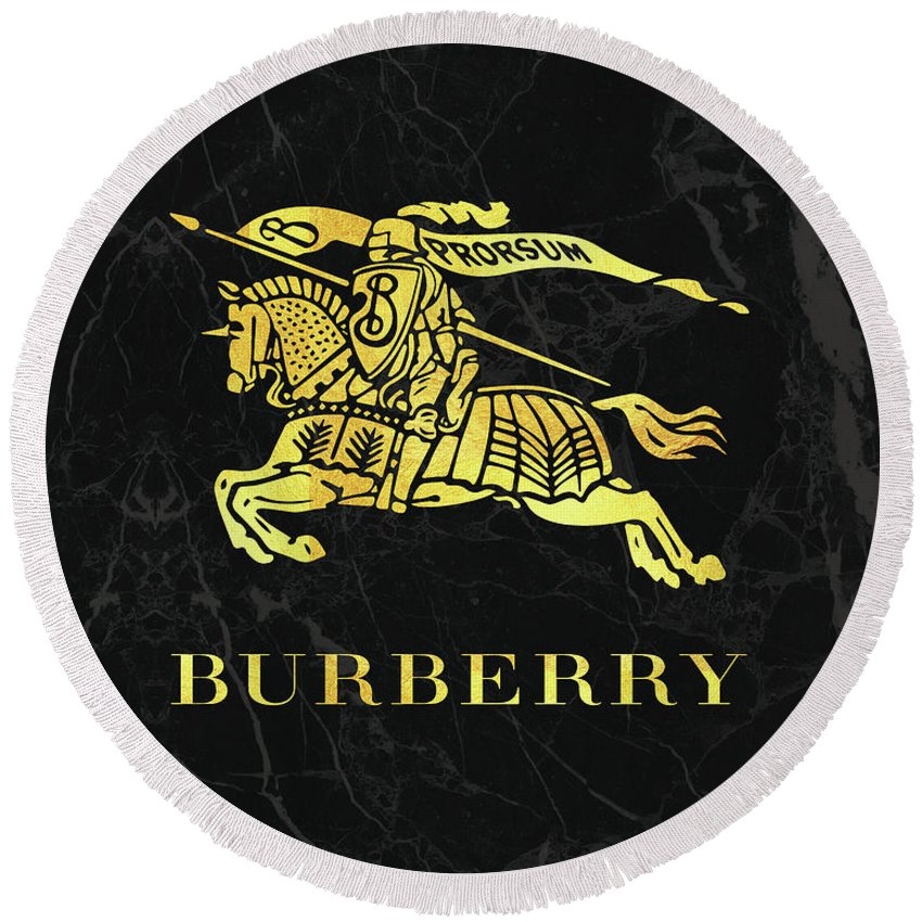 Burberry Round Beach Towel featuring the digital art Burberry - Black And Gold - Lifestyle And Fashion by TUSCAN Afternoon