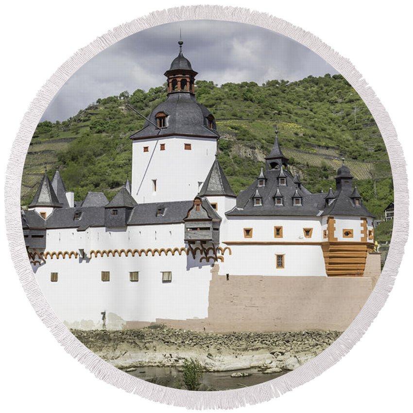 Teresa A Mucha Round Beach Towel featuring the photograph Burg Pfalzgrafenstein In Kaub Germany by Teresa Mucha