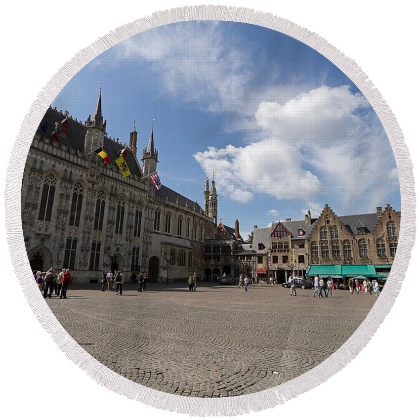 Burg Square Round Beach Towel featuring the photograph Burg Square In Bruges Belgium by Louise Heusinkveld