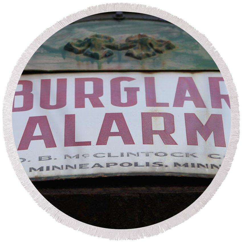 Burglar Alarm Round Beach Towel featuring the photograph Burglar Alarm by Lauri Novak
