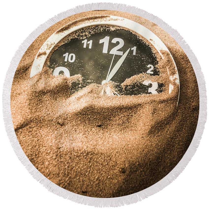 Clock Round Beach Towel featuring the photograph Buried In The Sands Of Time by Jorgo Photography - Wall Art Gallery